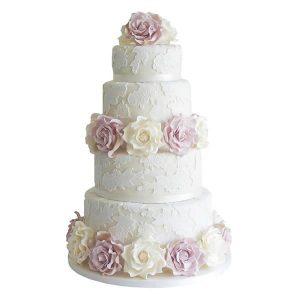 Lace Rose Wedding Cake